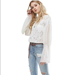 Free People ivory lace bell sleeve blouse